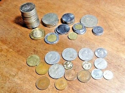 52 Mexican coins, Pesos & Centavos 1959-2007 most are 1980's