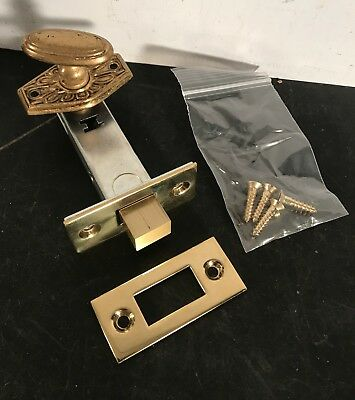 Antique Waldorf Astoria thumb turn w/ repro brass locking bolt solid brass