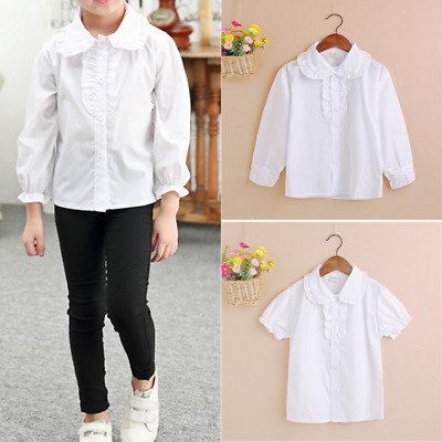 Kid Girl School Uniform Blouse Long Sleeve Frilled White Shirt Tops Short Sleeve