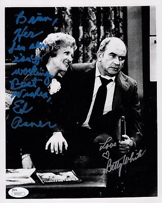 BETTY WHITE+ED ASNER HAND SIGNED 8x10 PHOTO       BOTH SIGNED TO BRIAN       JSA