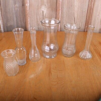 6 Vintage Clear Glass Flower Vases Wedding Shower Party Decoration Center Piece