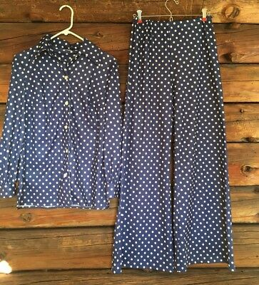 True Vintage Pant Suit 2 Pc Navy Blue Polka Dot Polyester Hipster Retro Mod