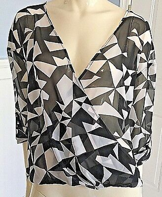 Decree womens XL Sheer Criss Cross Chiffon Blouse 3/4 Sleeves Geometric Pattern