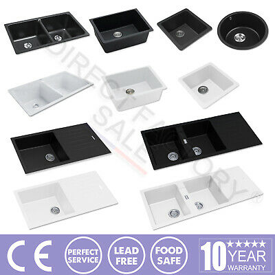 Black White Granite Stone Kitchen Laundry Sink Single Double Bowl Top/Undermount