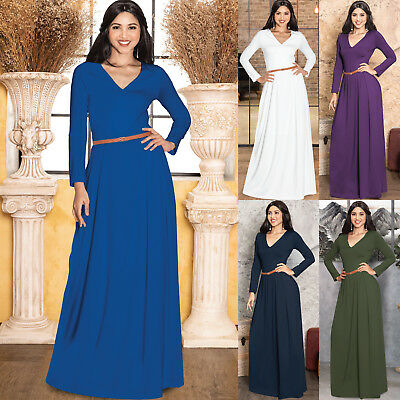 Womens Long Sleeve V-Neck Formal Winter Fall Cocktail Evening Belted Maxi Dress