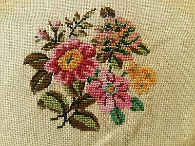 """ANTIQUE Needlepoint Petit Hand Embroidered Oval Tapestry Spring Flowers 7""""x5,5"""""""
