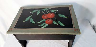 """Custom Painted Cherries - Cherry Tree Plant Stand Foot Stool Bench 18"""" long"""