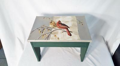 """Custom Painted Bird Nature Plant Stand Foot Stool Bench 17 1/2"""" long"""