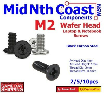 M2 x 3-10mm Laptop Notebook Machine Screws Phillips Wafer Head Black Zinc