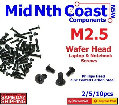 M2.5 x 3/4/5/10mm Laptop Notebook Machine Screws Phillips Wafer Head Black Zinc