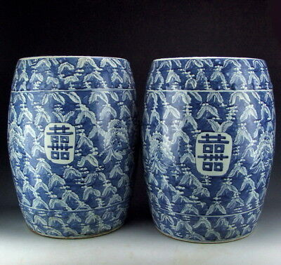 Pair of Chinese Antique Blue&White Porcelain Garden Stools with Happiness Deco
