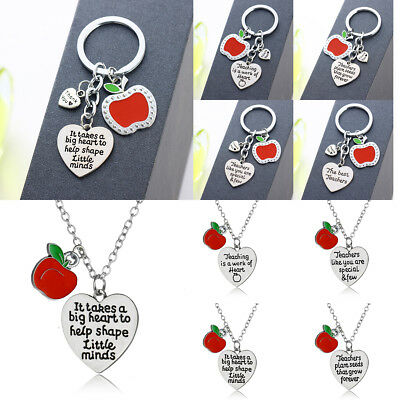 Charm Red Apple Teacher Gift Necklace Pendant Keyring Jewelry It Take Big Heart