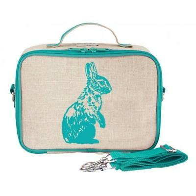 NEW So Young Insulated Lunch Bag Box Raw Linen - Aqua Bunny