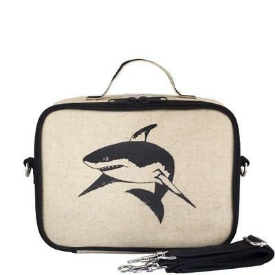 NEW So Young Insulated Lunch Bag Box Raw Linen - Black Shark