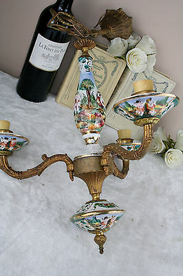 Capodimonte Faience porcelain 3 arms small chandelier putti cherubs 60's italy