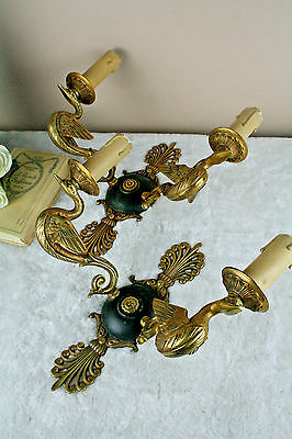 PAIR French vintage empire 50's Wall lights plaques brass swan arms n2