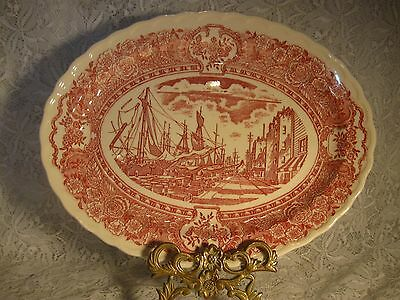 "Vintage Ceramic Oval Platter Vernonware Ship ""Early Days"" Cranberry & White"