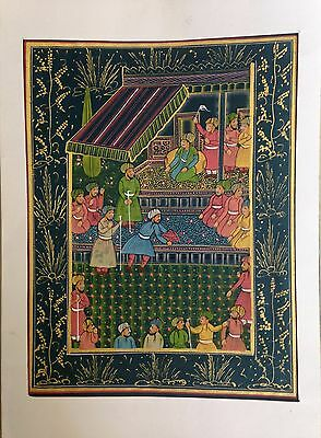 Vintage Indo Persian Islamic Mughal Miniature Painting Antique Handmade Indian