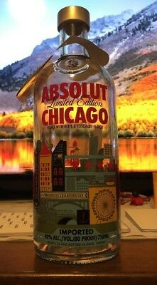 ABSOLUT CHICAGO 750ml Empty Vodka Bottle-Limited Edition/Design W/ Tag