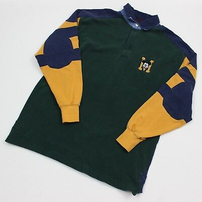 VTG 90s Disney Mickey Mouse Green Embellished L/S Rugby Polo Shirt Men's XL