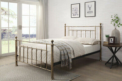 Luxury Antiqued Brass Double King Size Metal Bed Frame Hospital Shabby Chic