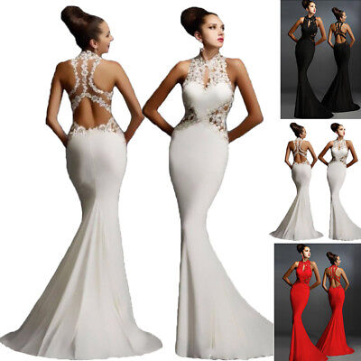 UK Women Lace Long Mermaid Dress Evening Party Prom Bridesmaid Ball Gown Dress