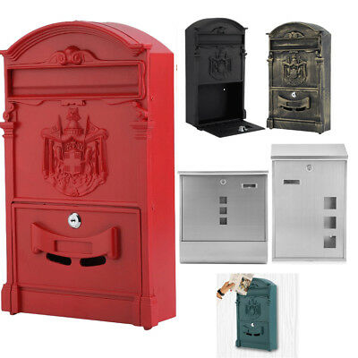 Outside Lockable Box Letterbox Letter Post Mail Postbox Fixing Kit Wall Mounted