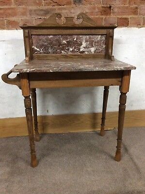 Victorian/Edwardian Washstand With Marble Top And Marble Back