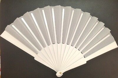 12 Fans Fabric White For Wedding Wedding Bride Hand Fan