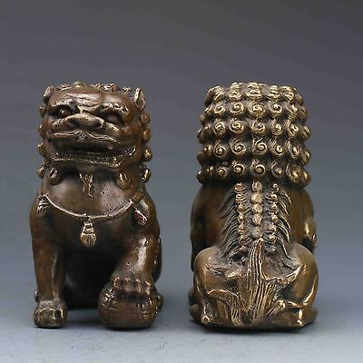 A Pair Collectable Oriental Vintage Brass Hand Carved Lion Statue