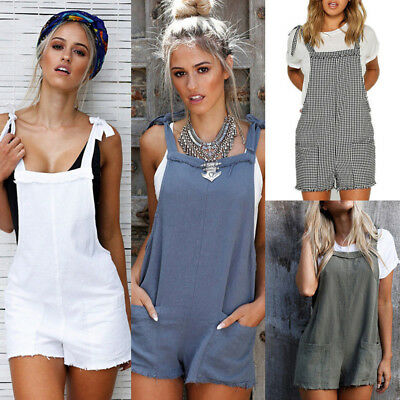 Women Straps Jumpsuits Overalls Jeans Shorts Pants Romper Trousers Playsuits BG