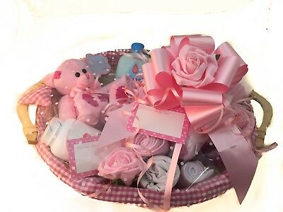 Baby Girl Gift Basket Hamper, Teddy, Clothes , Blanket ,johnsons Products Etc