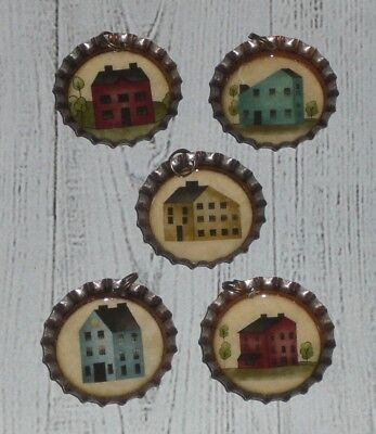 5 Primitive Salt Box House Bronze Bottle Caps Charms Mini Tree Ornaments