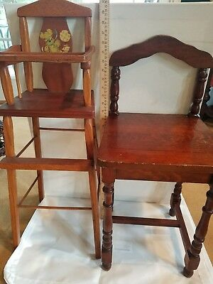 Antique Vintage Wooden Child's Chair and Doll High Chair Solid Wood - Beautiful!