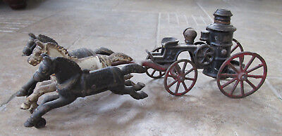 Antique vintage cast iron 3 Horse drawn fire truck engine pumper toy