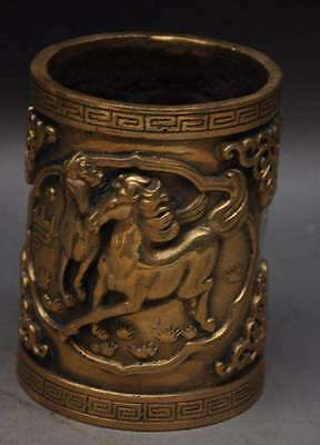 China pure brass copper carved fine eight horses Brush Pot Statue