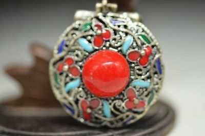 China miao silver handwork inlay Zircon old cloisonne pendant a2
