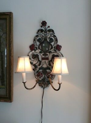 Antique Italian Painted Colorful Electric Large Sconce Pair