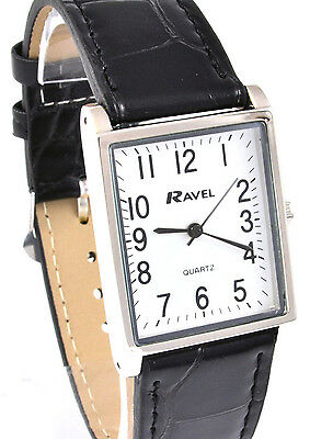Ravel Mens or Ladies Classic Watch with Black Strap Silver Tone Rectangular Dial