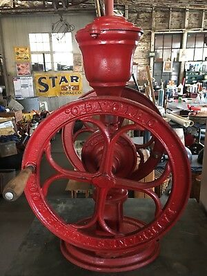 Antique Red Cast Iron 1887 FAIRBANKS, MORSE & Co 2 Wheel Coffee Grinder