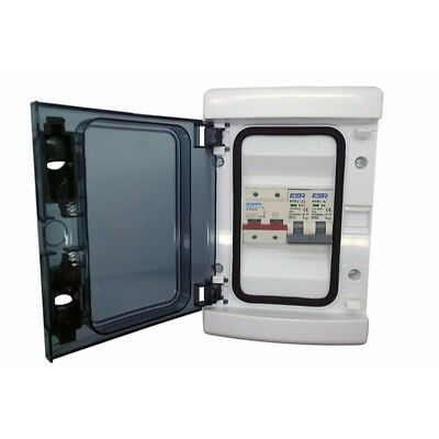 Waterproof IP65 Garage Consumer Unit 2 Way 100A Mains Switch with 6A & 16A MCBS