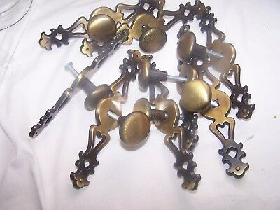 8 Vintage BRASS Plated Knob Drawer Cabinet Door Pull Handle With Back plate