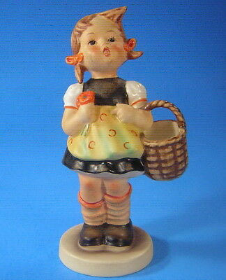 """Hummel """"Sister"""" #98/0 TMK5 ~ Girl carrying Basket and Flowers ~ Mint ~ 5.5"""" Tall"""