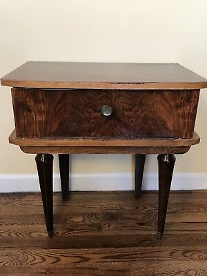 Vintage Art Deco Mid Century Stand One Drawer End Table