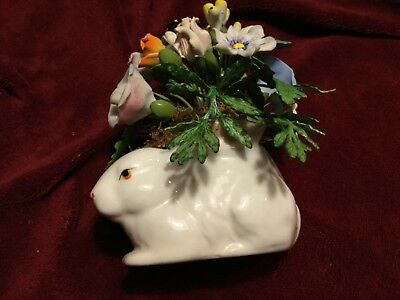 Vintage Petites Choses Small White Porcelain Bunny With Metal? Flowers
