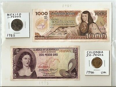 I have 2 banknotes and 2 coins from Mexico and Colombia. no creasing