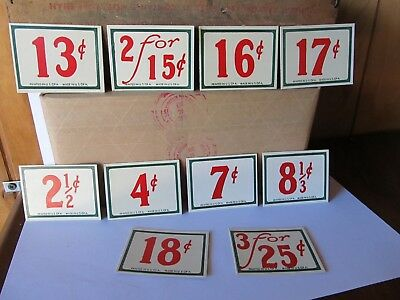 10- General Store Price Tags  - 1940's era - vintage new old stock, crisp