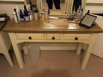 3 Drawer Solid Wood Dressing Table in Vintage White with Oak Top