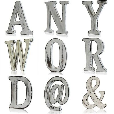 Large Shabby Chic Vintage Whitewash Wooden Any Word Letters Sign Freestanding
