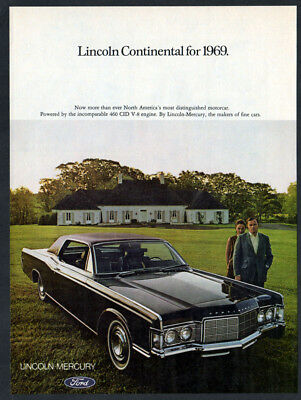 1969 LINCOLN Continental Vintage Original Print AD Black car photo house english